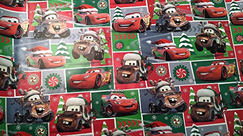 [Christmas Wrapping Pixar Cars Holiday Paper Gift Greetings 1 Roll Design Festive Wrap Disney Car Square] (Homemade Disney Character Costumes Adults)