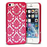 iPhone SE Case, GreatShield [TACT | Damask Design] Flower Pattern Snap On Case Embossed Back Cover for Apple iPhone SE / 5S / 5 (Red)