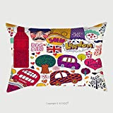 Custom Satin Pillowcase Protector Vector Set Of London Symbols And Hand Lettering Of Main Place In Town Welcome In London 108239195 Pillow Case Covers Decorative