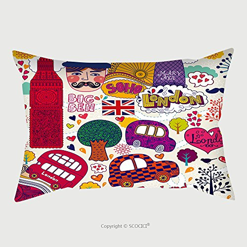 Custom Satin Pillowcase Protector Vector Set Of London Symbols And Hand Lettering Of Main Place In Town Welcome In London 108239195 Pillow Case Covers Decorative by chaoran