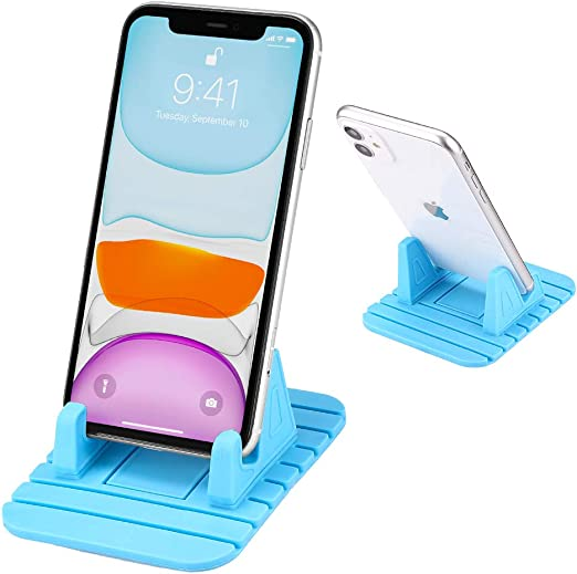 2 Pack Non-Slip Silicone Car Pad Airplane Phone Holder Travelling Tablet Stand Desktop Dock Anti Slip Phone Cradle for iPhone 11 Pro Max XR Xs 8 Plus 7 6s Galaxy S20 S10 S9 Black Cell Phone Stand
