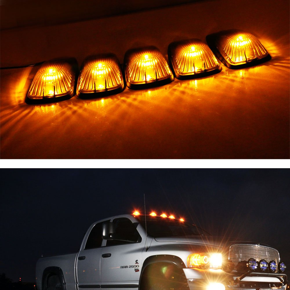 amazoncom ijdmtoy 5pcs smoked lens aerodynamic low profile design cab roof marker running lamps w amber led light bulbs for truck pickup 4x4 suv