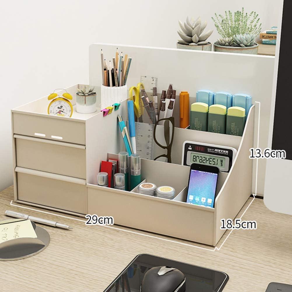 Desktop Shelf with Drawers,Pen Holder Multipurpose Assembled Desk Storage Organizer Space Saving for Desk Vanity Tabletop-Khaki 29x18.5x13.6cm(11x7x5inch)