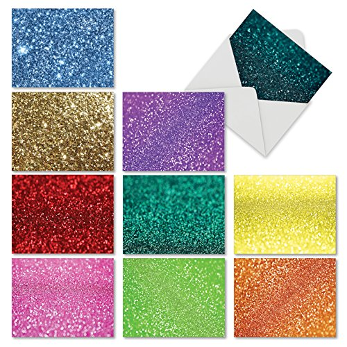 M6461OCB Glitterati: 10 Assorted Blank All-Occasion Note Cards - Mini Notecards With Envelopes
