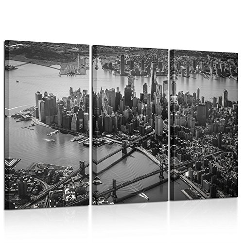 Nyc Art (Kreative Arts - 3 Pieces Canvas Wall Art Black and White Brooklyn Bridge and New York City Manhattan Downtown Urban Skyline Modern Home Decor Stretched and Framed Ready to Hang 12x24inchx3pcs)