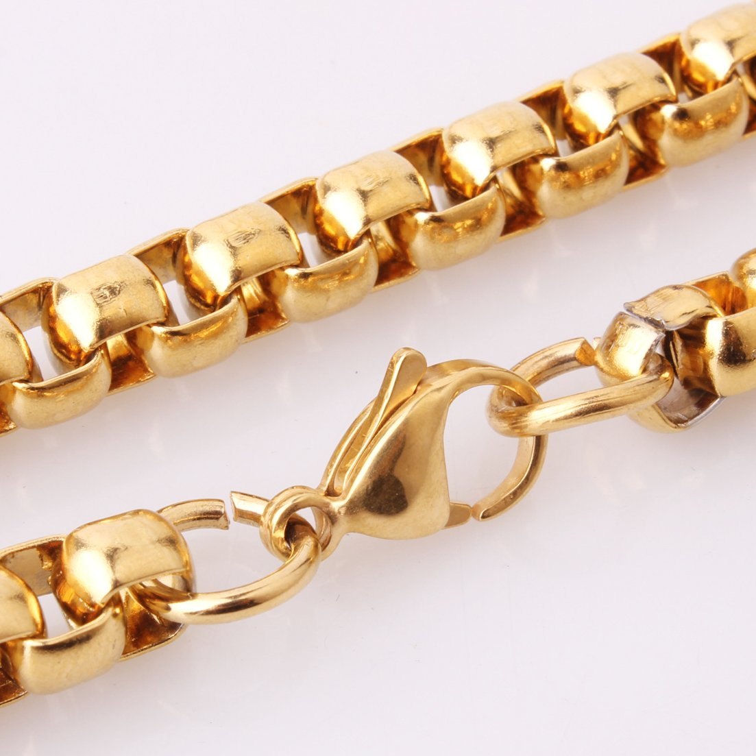 7mm Gold Plated Simple Box Link Chain Necklace Mens Jewelry Stainless Steel,16-40