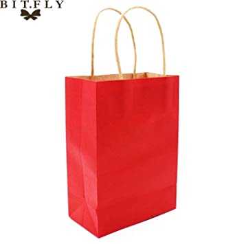 JEWH Colorful Small Kraft Paper Gift Bag With Handle