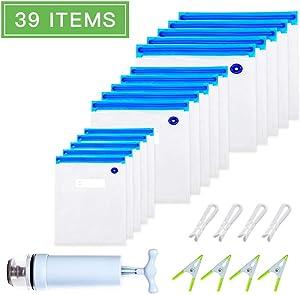 Sous Vide Bags 30 Reusable Vacuum Food Storage Bags with Hand Pump, 4 Sealing Clip & 4 Sous Vide Bag Clip, 3 Different Sizes Vacuum Sealed Bags for Sous Vide Cooker,