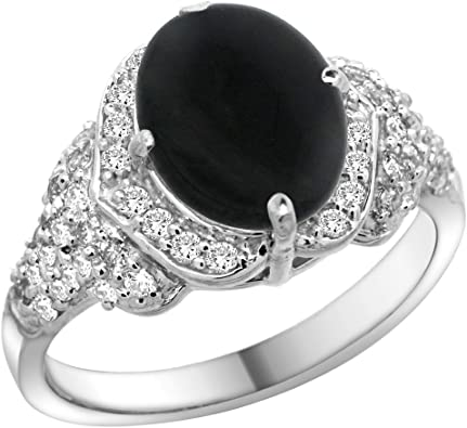 0.8 ct tw Natural Diamond /& Black Onyx Solid 14k White Gold Halo Cocktail Ring