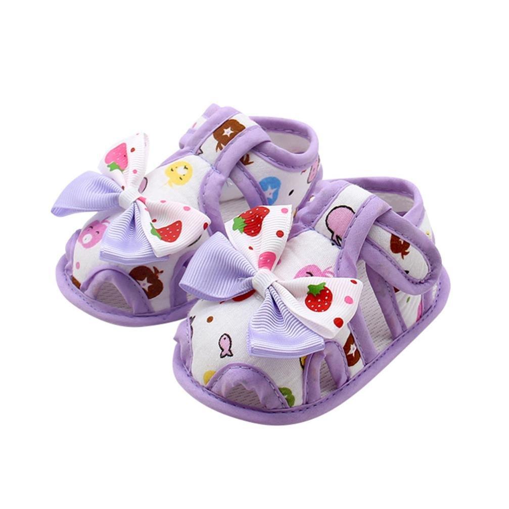 Voberry Newborn Baby Girls Summer Bowknot Soft Cotton Sandals