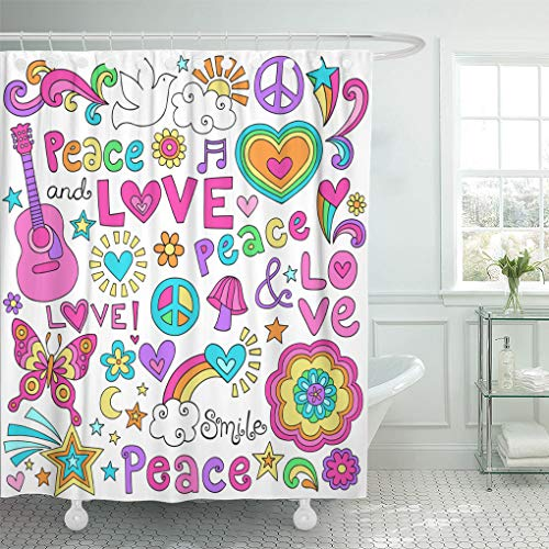 (Ashleyallen Shower Curtains Peace Love and Music Flower Power Groovy Psychedelic Doodles with Butterfly Sign Acoustic Guitar and More Shower Curtain 60 x 72 inches Shower Curtain with Plastic Hooks )