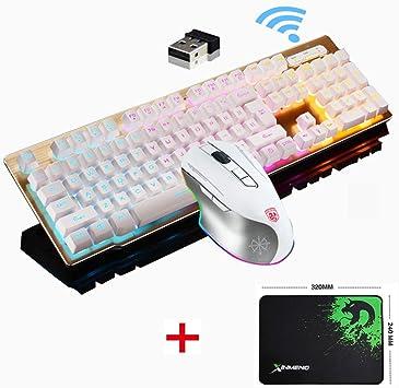Juego de teclado y ratón inalámbricos y recargables de 2,4 G, teclado y ratón para juegos con retroiluminación LED arcoíris+ratón de juego recargable ...