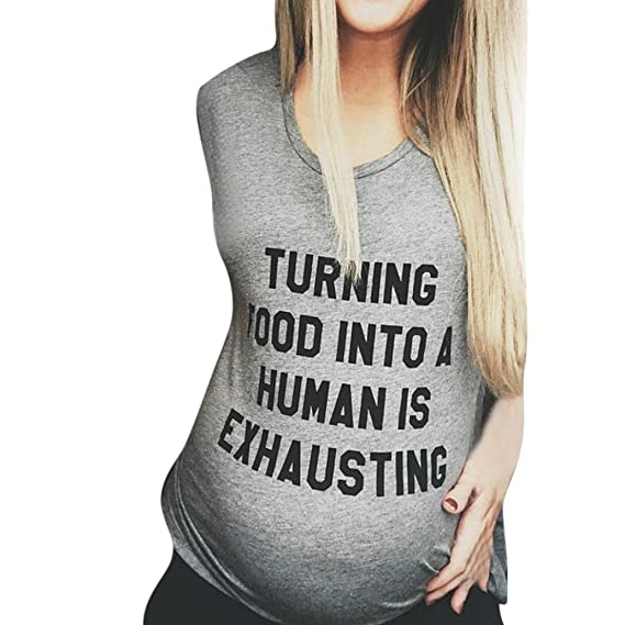 2018 Carta Impreso Deportes de maternidad El bebé viene Bikini para embarazadas Camiseta de manga corta