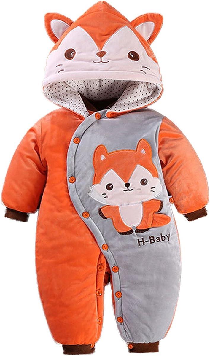 Baby Girls Boys One Piece Cartoon Animal Hoodie Jumpsuit Romper
