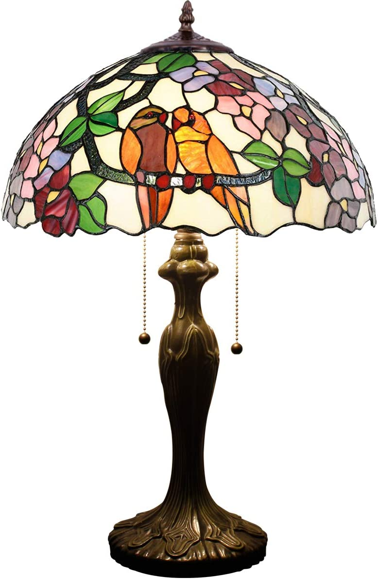 Tiffany Table Lamp 24 Inch Tall Wide 16 Inch Double Birds Design Stained Glass Shade 2 Light Antique Base for Bedroom Living Room Reading Lighting Coffee Table S803 WERFACTORY