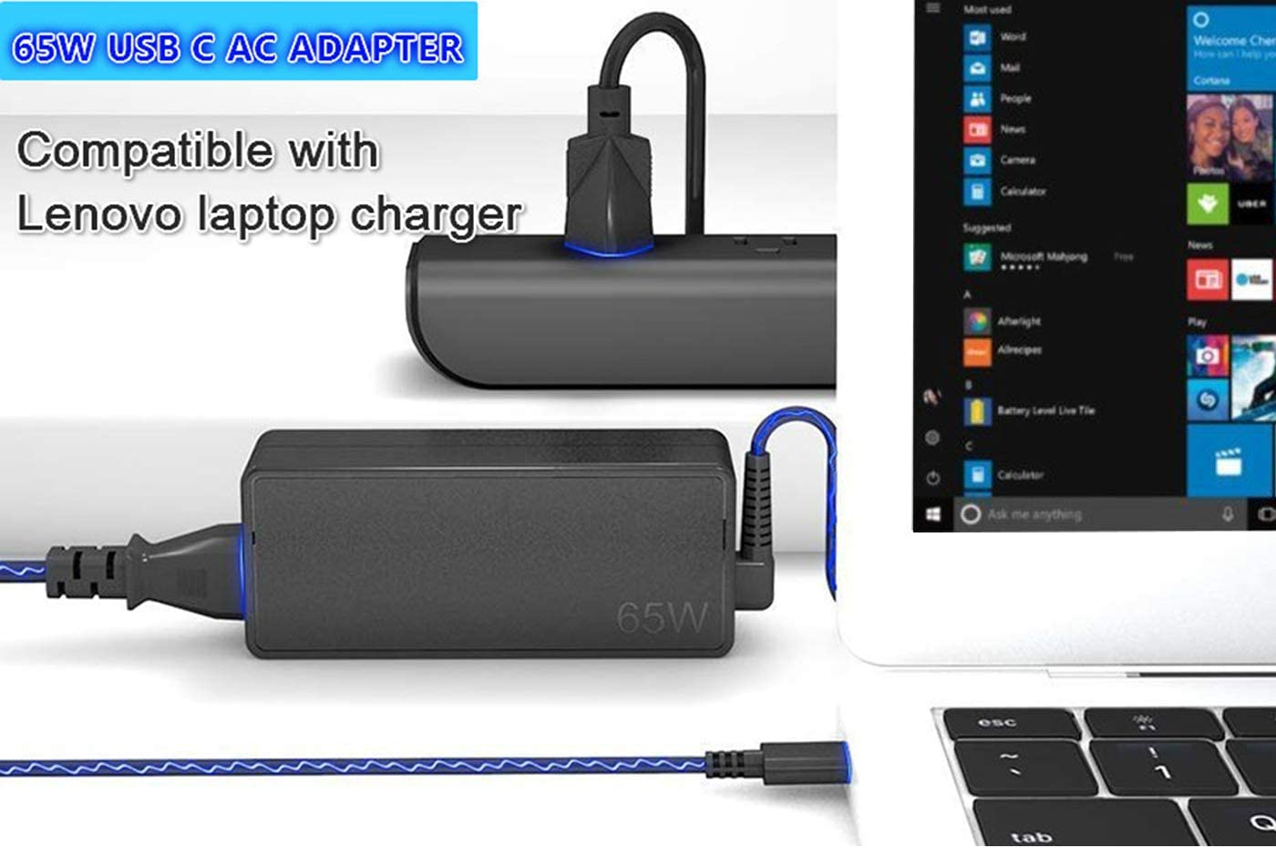 65W USB Type-C Laptop Adapter Charger Fit for ThinkPad X1 Tablet Carbon Yoga 370 730 730-13IKB X270 X280 X380 T480 T480S T580 T580s T570 E580 E585 E480 L380 L480 L580 Power Supply Cord