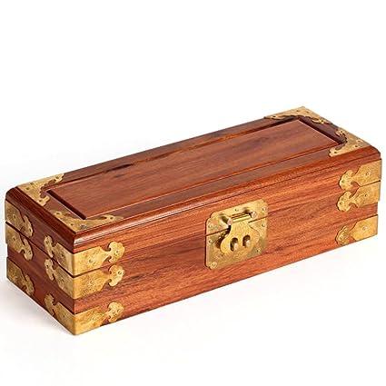 Caja de joyería de rosewood palo de rosa antiguos Alhajeros de madera sólida caja de almacenamiento