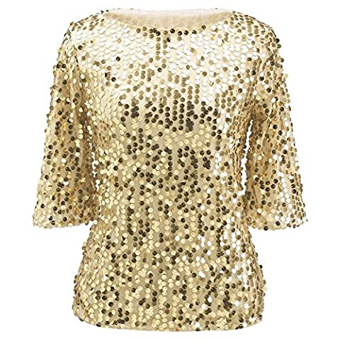 Womens Plus Size Shimmer Glam Glitter Sequined Tank Top Shirts Blouses XXL Gold - Womens Shimmer