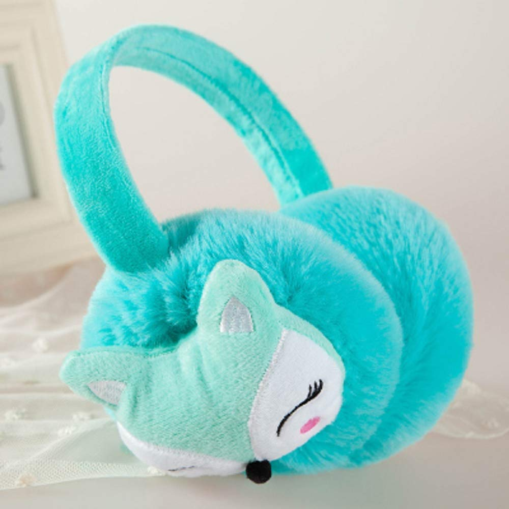 Cartoon Fox Muffs Warm Plü sch Ohrenwä rmer Winter Outdoor Ohrenschü tzer fü r Kinder 12 cm blau QILEGN