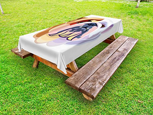 Ambesonne English Bulldog Outdoor Tablecloth, Bicolor Cartoon Style Bulldog Portrait Abstract Animal Design, Decorative Washable Picnic Table Cloth, 58 X 84 Inches, Brown Pale Muave Pink by Ambesonne