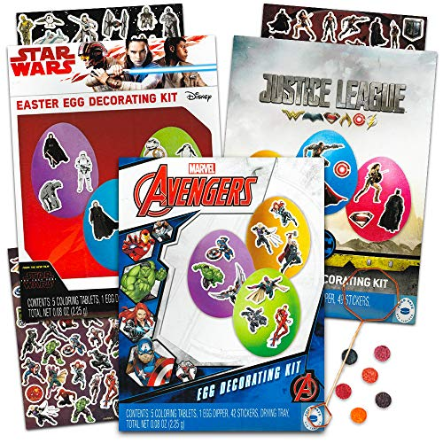 Easter Egg Decorating Kit Marvel Avengers / Star Wars / Justice League Set -- Pack of 3 Super Hero Easter Egg Coloring Kits Filled with Dye Tablets, Stickers, Dippers and More