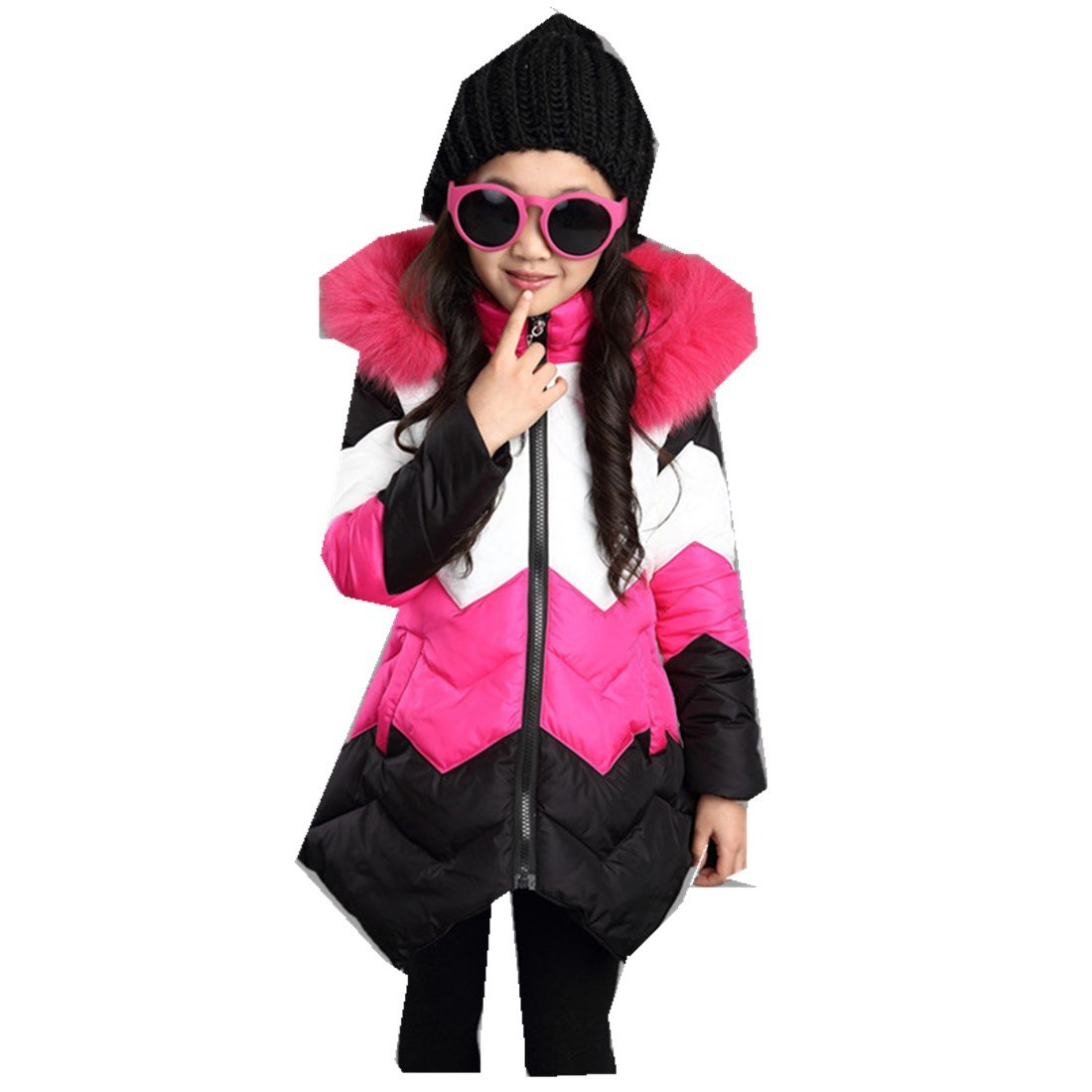 MV hildren's Clothing Winter New Girl Cotton Long Section Thick Wool Coat
