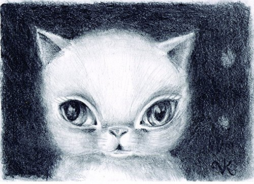 White Cat Art Print from Original Drawing, Contemporary Big Eye Art Print for Cat Lover]()