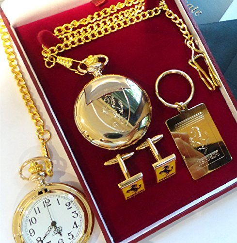 Cufflink Collectors Box - Ferrari 24K Gold Clad Ferrari Half Hunter Pocket Watch Keyring Cufflinks Luxury Set In Presentation Box With Certificate California Enzo Berlinetta