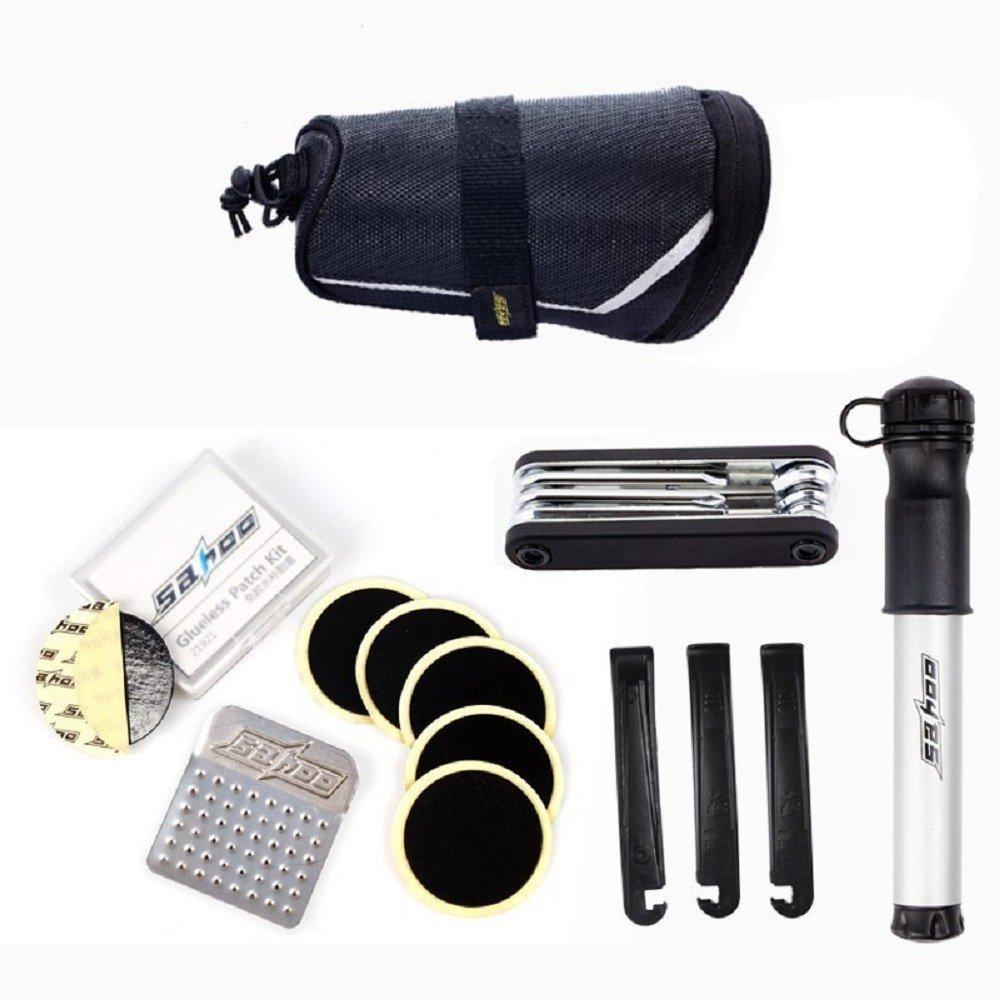 SAHOO Bicycle Repair Tool Set Kit with Saddle Bag Bike Mini Pump Tire Inflator Patch Crowbar All in One
