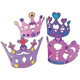 12 x Kronen aus Moosgummi zum Basteln Mädchen Prinzessin Party Geburtstag Buchstaben Bastelset DIY