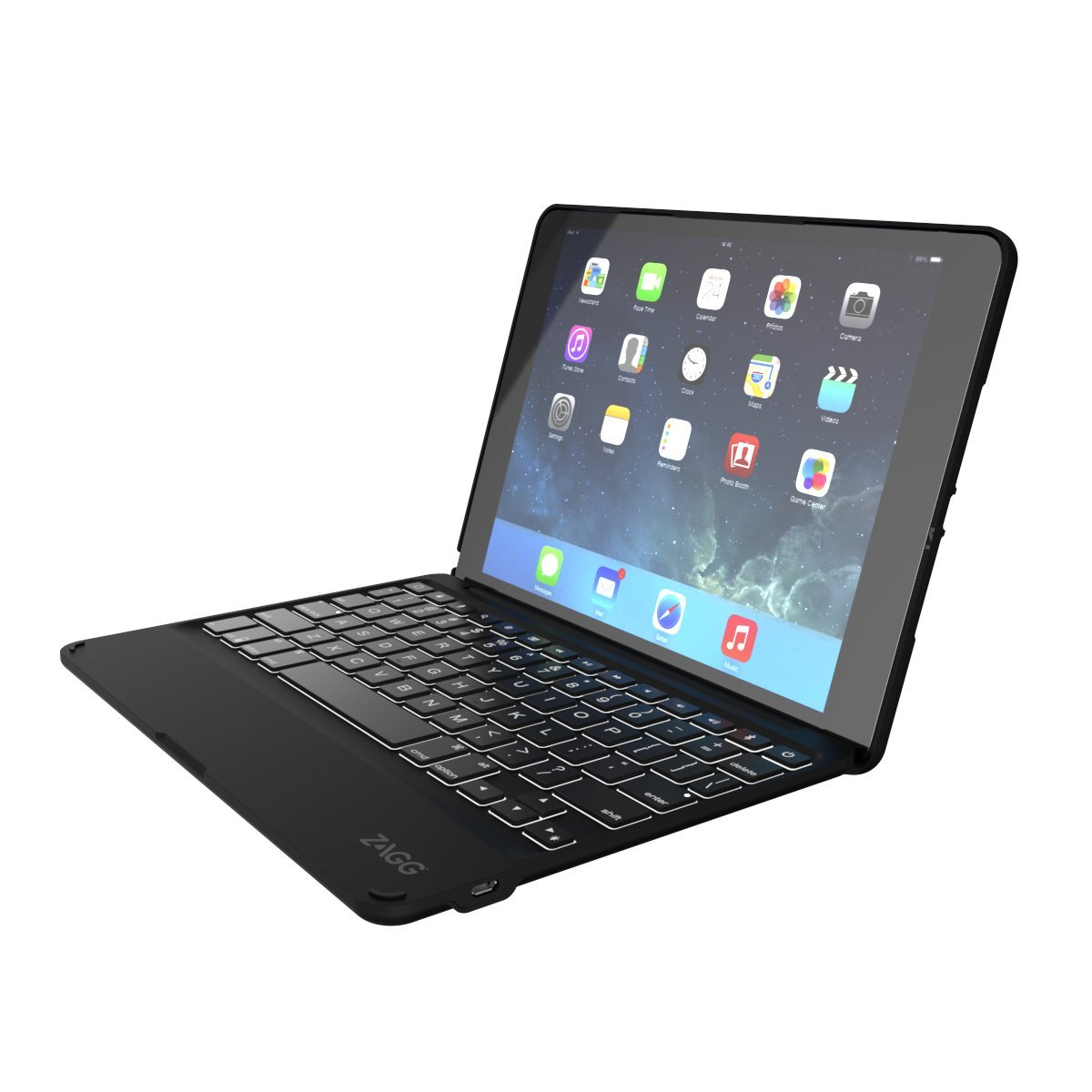 best sneakers fad5a 10250 ZAGG Folio Case Hinged with Backlit Bluetooth Keyboard for iPad Air 2 -  Black