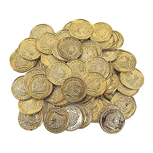 Kicko Plastic Gold Coins - 144 Pack - 1.25 Inches Fun Play Money Coins - for Kids Great Party Favors, Bag Stuffers, Fun, Toy, Gift, Prize, Piñata Fillers