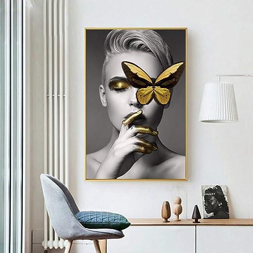 zgmtj Moderno Lienzo Pintura Moda Chica Mariposa Arte de la Pared ...