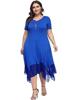 365e1a253b6 Hanna Nikole Women Plus Size Chiffon Irregular Hem Tunic Short Sleeve Dress