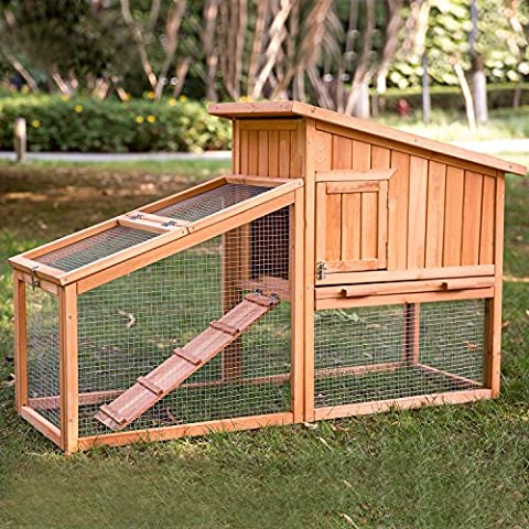 2-story Natural Wood Rabbit Hutch Stilt House with Run by Merax - 2 Rabbits