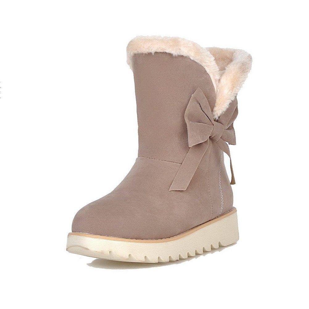 VogueZone009 Women's Imitated Suede Low-top Solid Pull-on Low-Heels Snow-Boots, Beige, 40 by VogueZone009
