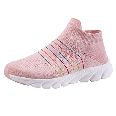 4f6caff7a15db Dreamyth-Shoes Women's Mesh Casual Fly Weave Rainbow Stripe Shoes ...