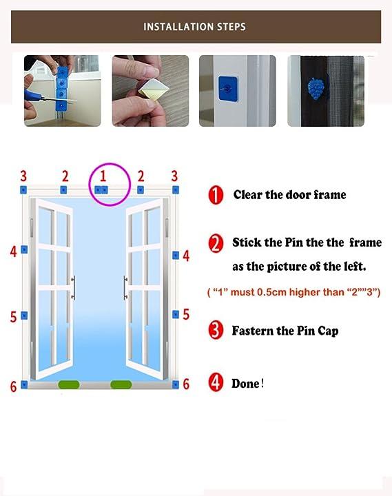 Liveinu Moustiquaire de Porte Ou Fenetre Magnetique Rideau Moustiquaire De Porte Avec Aimants Blanc 90x150cm