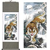 MODEBESO(TM) Silk Chinese Painting tiger Home Decorate Calligraphy Scroll Hanging Art Gift (H55