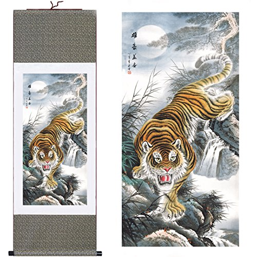 (MODEBESO(TM) Silk Chinese Painting tiger Home Decorate Calligraphy Scroll Hanging Art Gift (H55