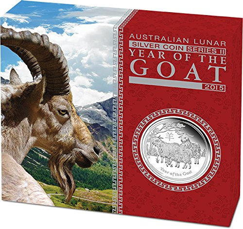 2015 AU Modern Commemorative GOAT Lunar Year Series 1 Oz Silver Proof Coin 1$ Australia 2015 Dollar Perfect Uncirculated