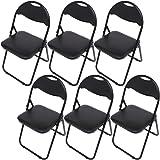 オフィスチェア 折りたたみ椅子 パイプ椅子 6脚セット ブラック
