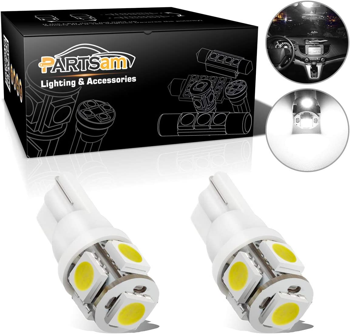 T10 High Power Amber License Plate LED Bulbs One Pair 194 2825 set of 2pcs