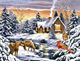 Reeves Large Acrylic Painting By Numbers - Snow Scene