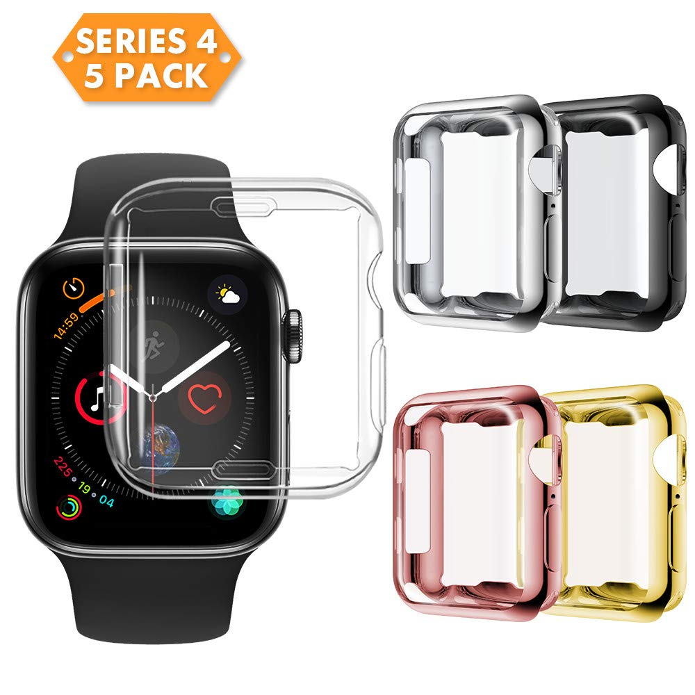 NotoCity Compatible Apple Watch Series 4 Screen Protector, 2018 New Overall Protective Case TPU HD Clear Ultra-Thin Cover Compatible Iwatch Series 4 (5pcs, 40mm)