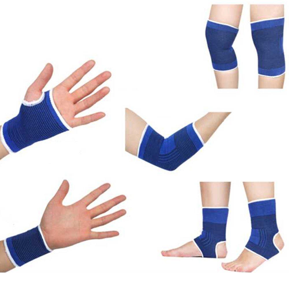 Ndier Set di Protezioni Sportive un Paio Ginocchiera + un Paio Polso + un Paio Guanti + un Paio Caviglia + un Paio Gomito per Sport, Esercizi e Fitness
