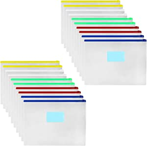 Rivama 20 Pack Plastic Envelopes with Zipper Envelopes Files Zipper Folders,Clear A4 Size Letter Size Bill Bag Pencil Case Pouch for School,Office Supplies