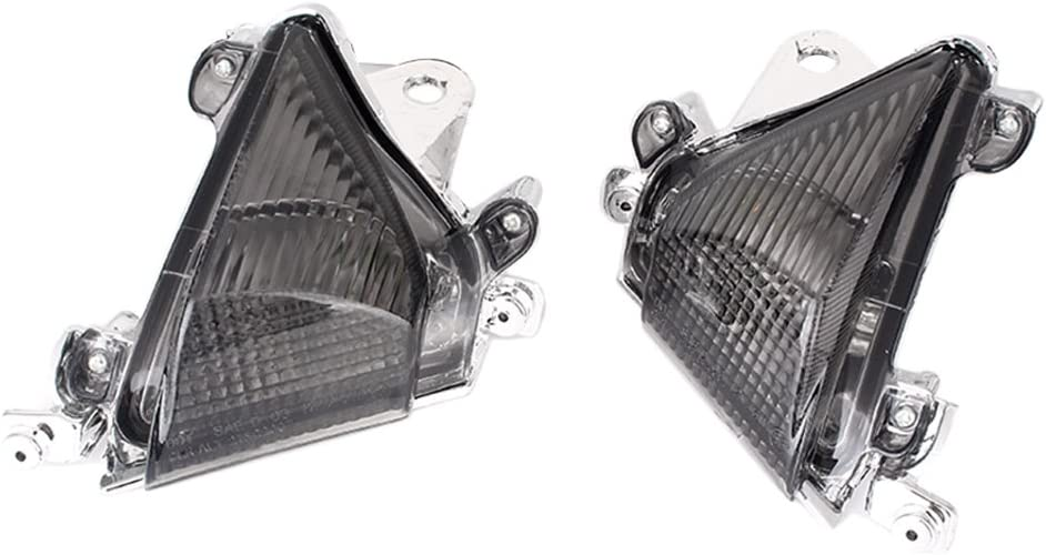 Mallofusa Front Turn Signal Light Lens Cover Replacement Compatible for Kawasaki Ninja ZX10R 2004 2005 Smoke