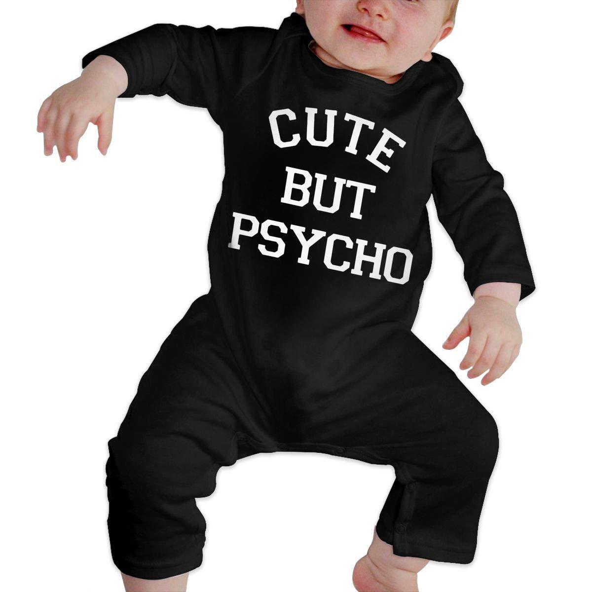U99oi-9 Long Sleeve Cotton Bodysuit for Baby Boys and Girls Soft Cute But Psycho Sleepwear