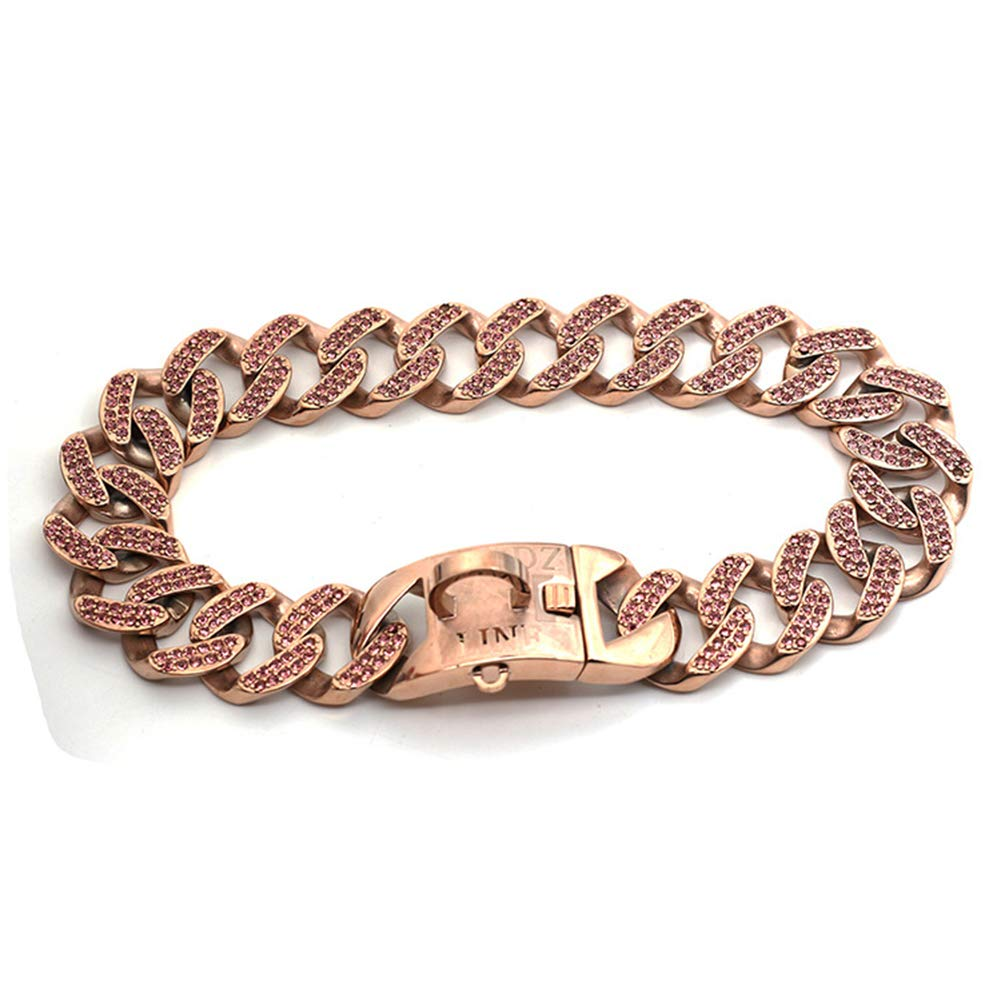 DUPFY 32MM Rose Gold Chain Dog Collar, Pet Training Collars, Stainless Steel Heavy Duty Cuban Link, Necklace Choke for Bully Pitbull,Bulldog, Mastiff 45CM by DUPFY